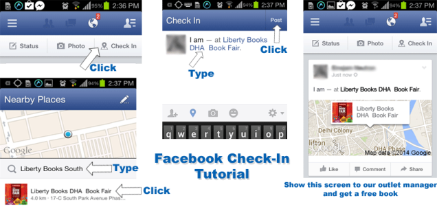 Facebook Check-In Tutorial for our Check-In for a Free Book offer